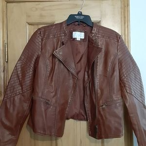 Faux leather brown moto jacket by Xhilaration